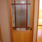 チェッカーガラス、カラーガラスを脱衣室入口と吊戸に使ったお客様