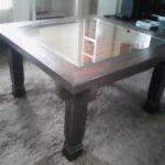 落とし込みタイプにテーブルにガラス天板をセットされたお客様