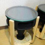 スピーカーのホーンを円形テーブルにリメイクして、天板に強化フロートガラスを置かれたお客様