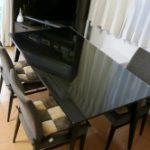 傷、汚れ防止にテーブルトップに強化フロートガラスを置かれたお客様