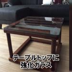 木枠テーブルの上にガラス天板を置かれたお客様(福島県相馬市K様)