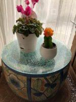 幼いころからのお気に入りの火鉢にフローラガラスを置いたお客様(東京都清瀬市Y様)