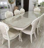 [施工]大理石のテーブルに強化ガラスのテーブルトップガラスを設置(大阪府枚方市Y様)