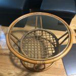 円形の籐製テーブルトップに強化フロートガラスを設置されたお客様(北海道札幌市S様)